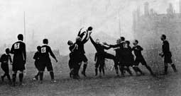 A line-out in the Wales victory over New Zealand's Original All Blacks in 1905.