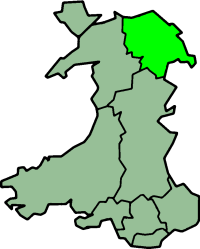Clwyd shown within Wales with its original borders