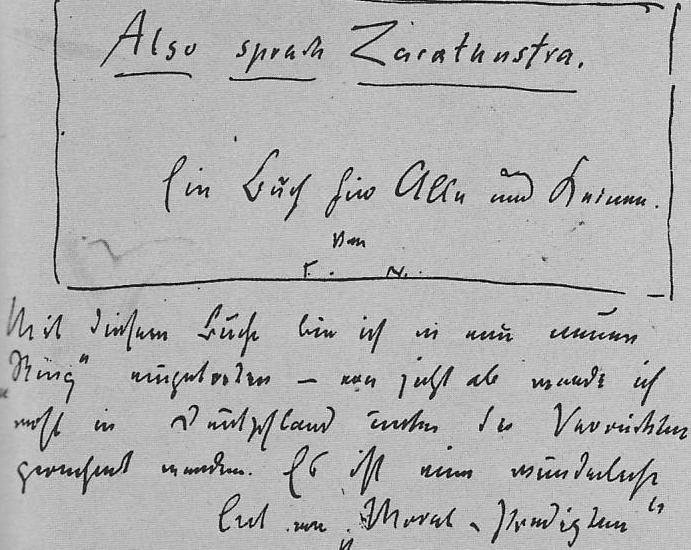 """Nietzsches handschriftliche Ankündigung des """"Zarathustra"""""""
