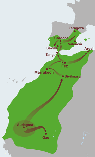 The Almoravid empire at its height stretched from the city of Aoudaghost to the Zaragoza in Al-Andalus Almoravid Empire.png
