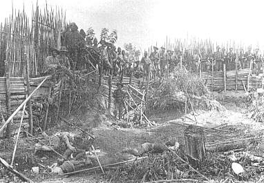 Capture of Fort Kuto Reh at 14 June 1904, caused several hundred casualties to indigenous people Atjeh-slagveld.jpg
