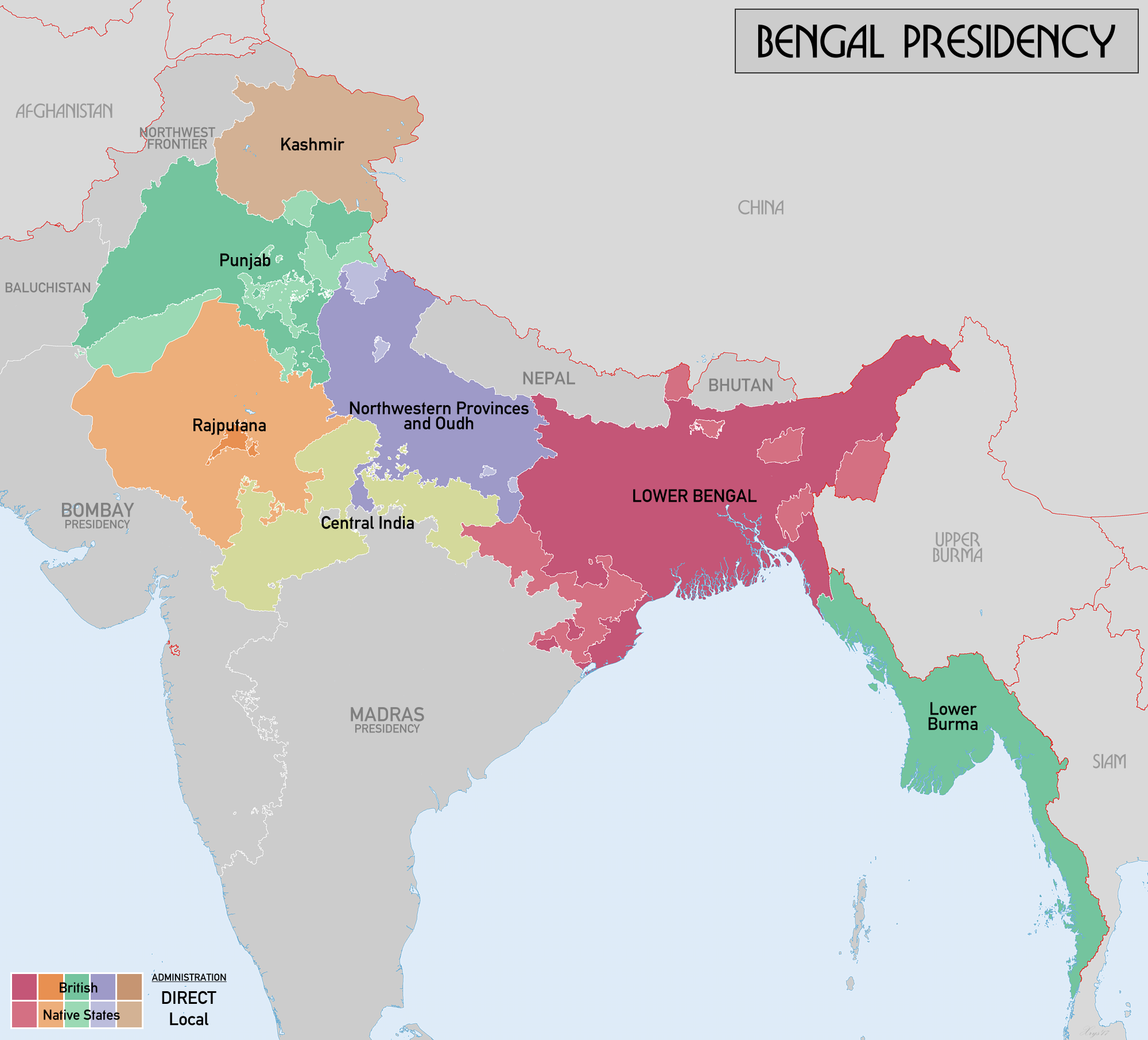 Map of Bengal Presidency within British India
