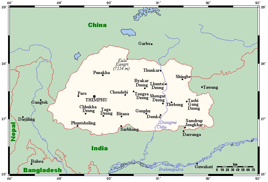 Geography Of Bhutan Wikipedia - Bhutan map