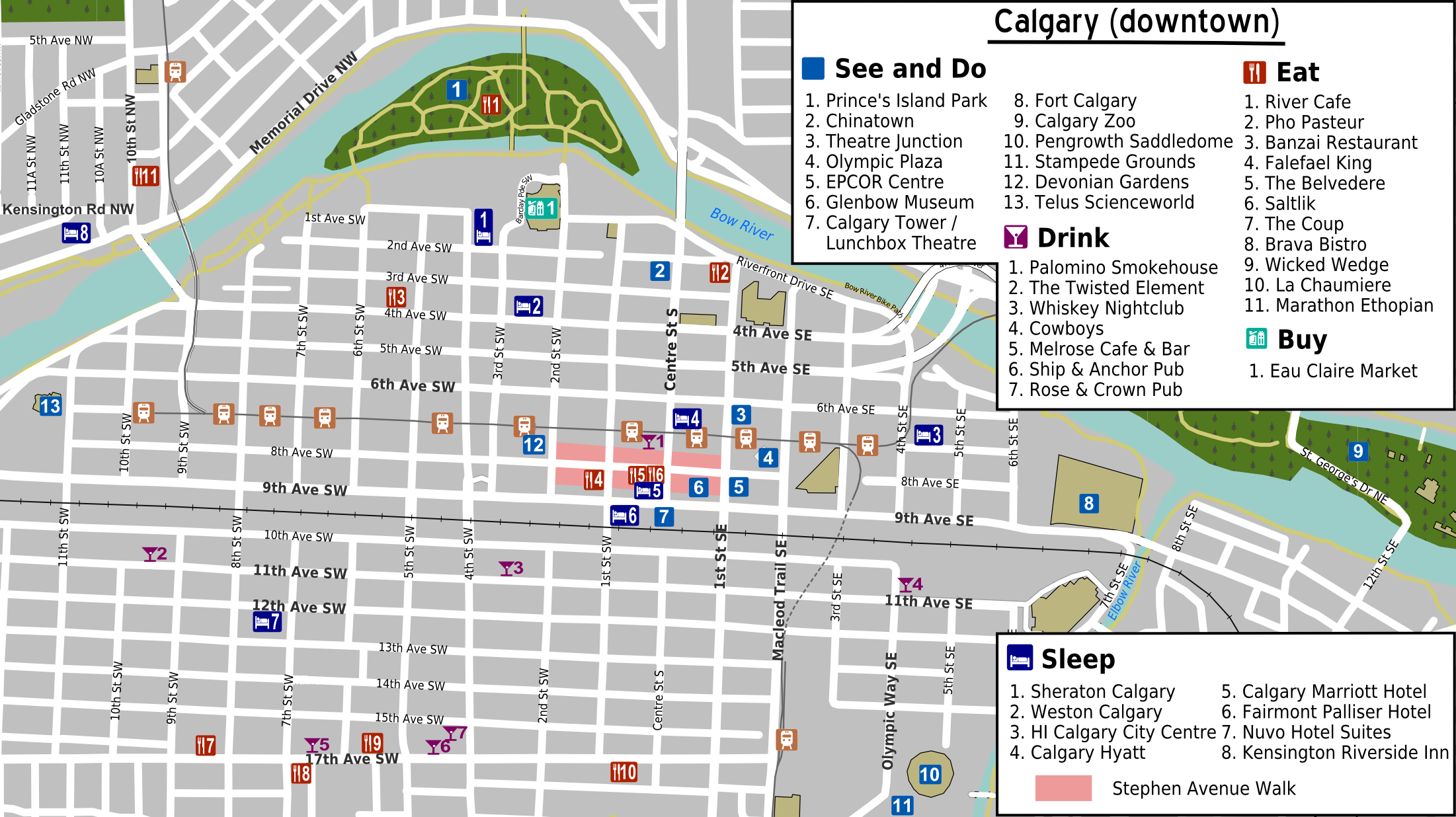 Map Of Downtown File:Calgary downtown map.png   Wikimedia Commons Map Of Downtown