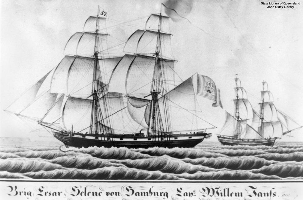 File:Cesar & Helene. Wooden Two mast ships 1856 J. C. Godeffroy, Reiherstieg.jpg