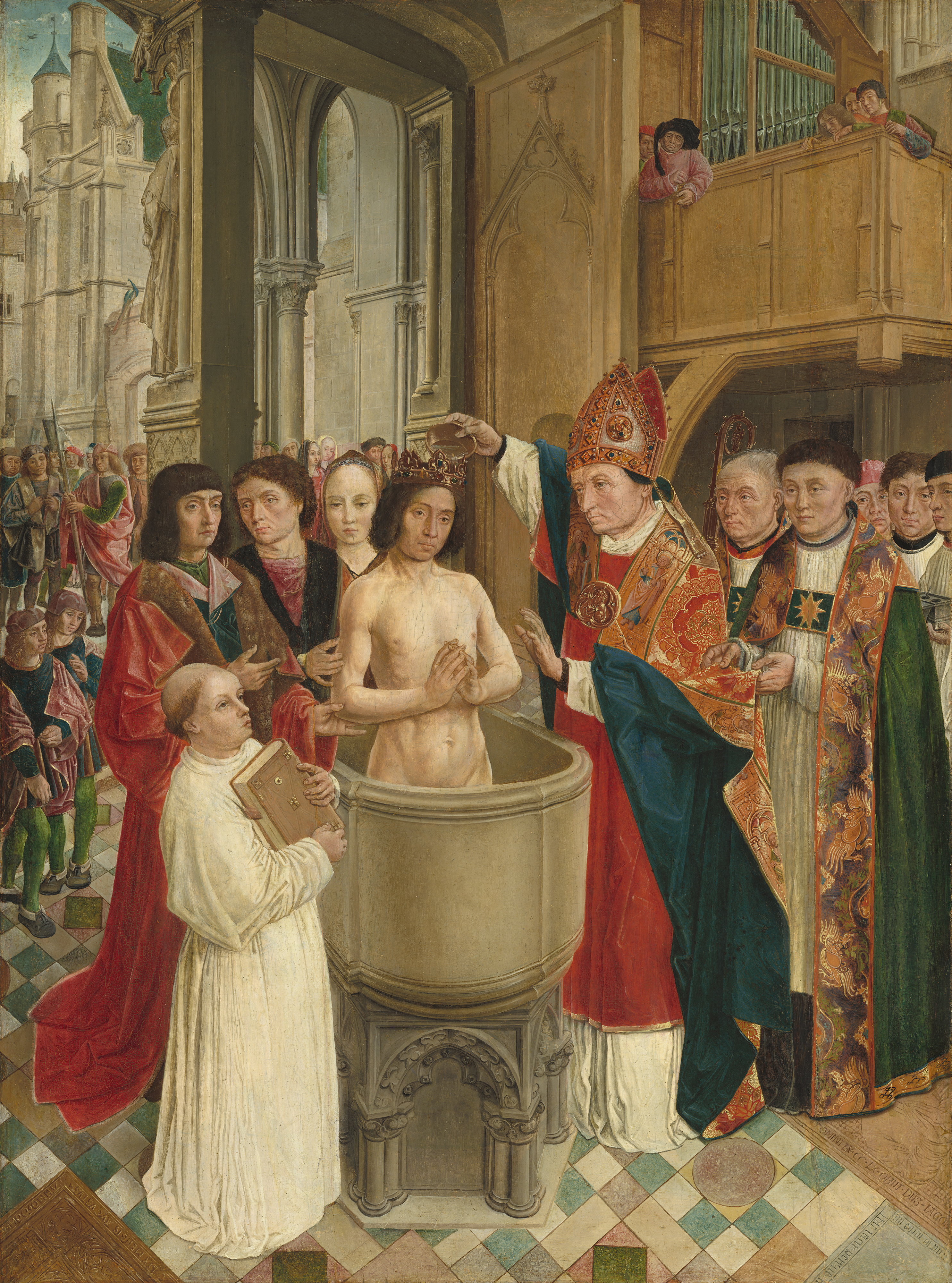 Remigius døper kong Klodvig, Mesteren av Saint-Gilles (ca 1500), National Gallery of Art i Washington