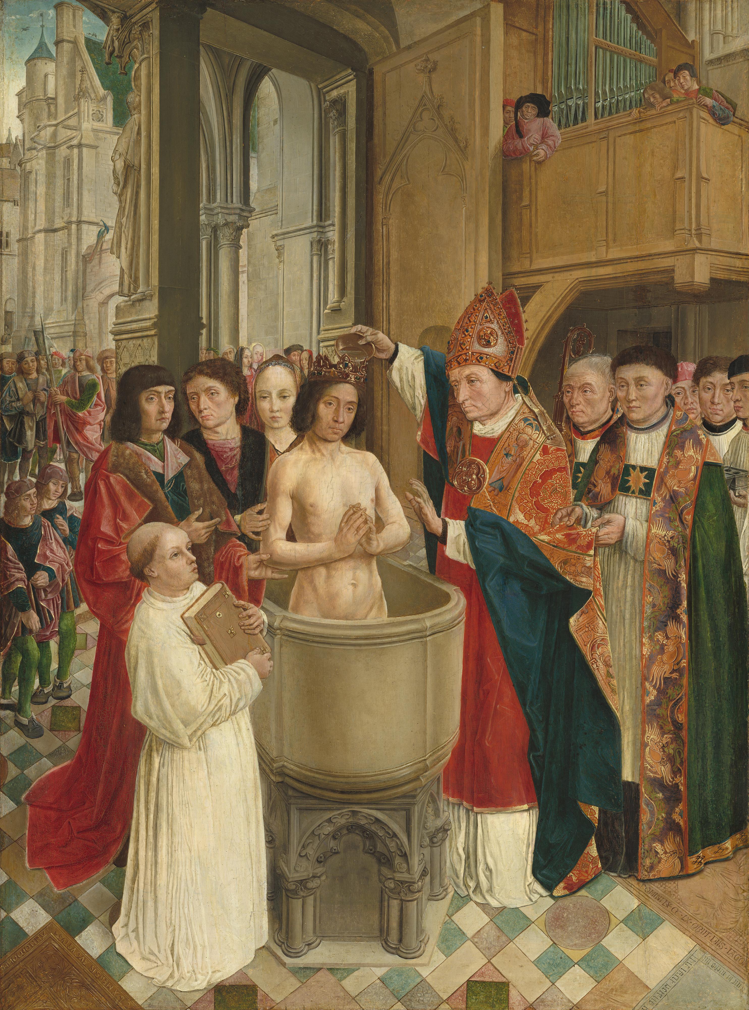 Une représentation artistique du baptême de Clovis, dans la Sainte-Chapelle à Paris.