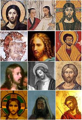 Various depictions of Jesus.