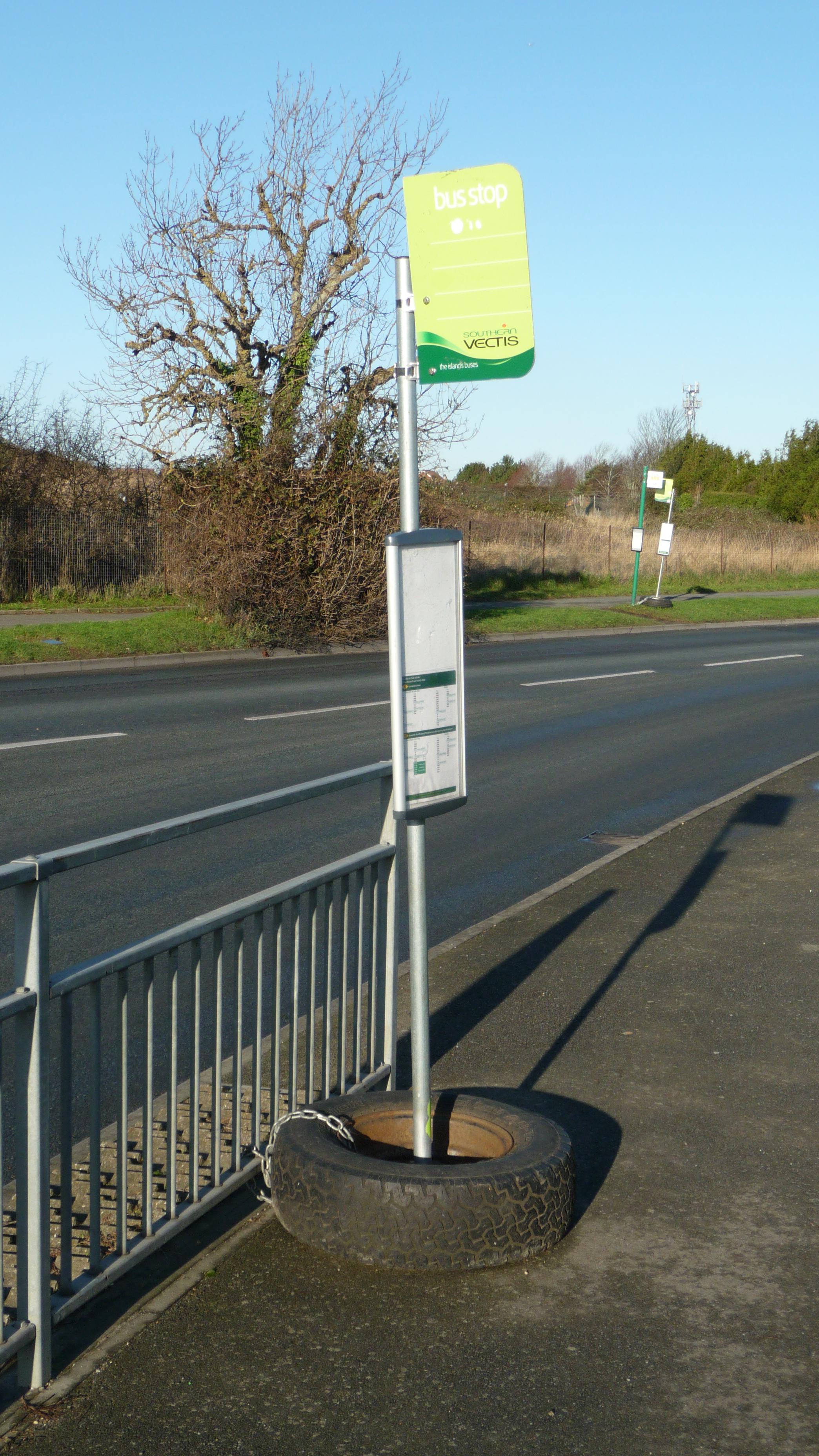 Cowes Somerton park and ride temporary bus stop during remodeling works.JPG