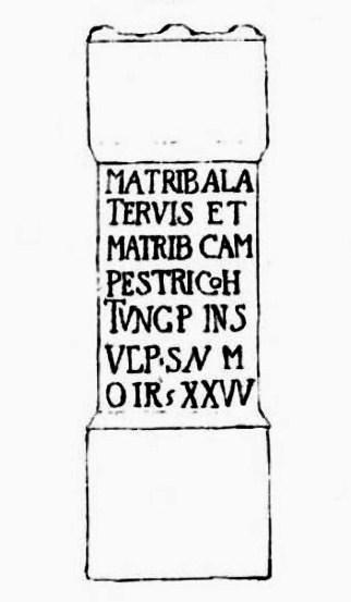 Cramond Roman Fortのローマの祭壇に刻まれた碑文は、Alatervaと畑の母親たちに捧げられています。
