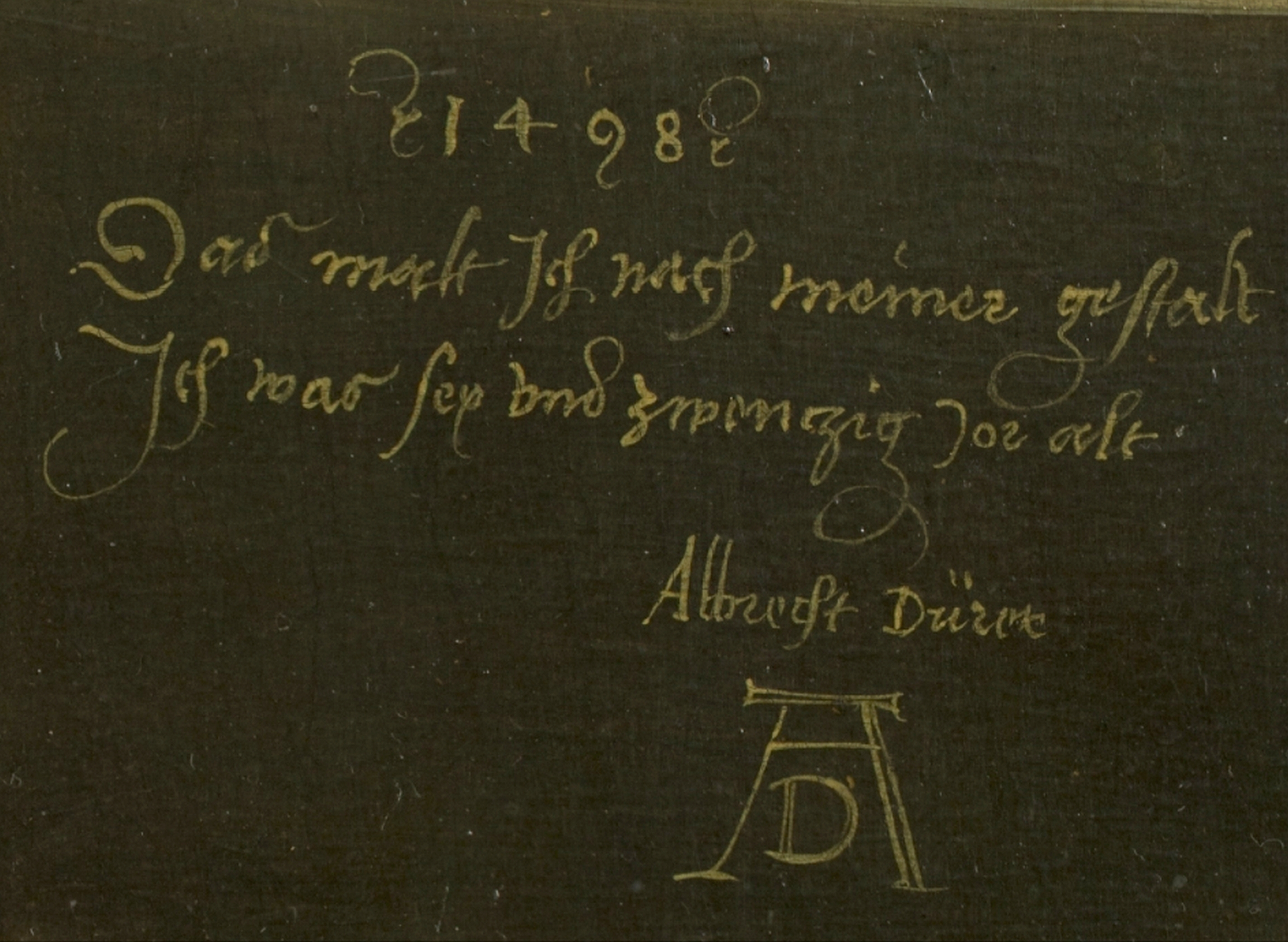 File:Dürer, Albrecht - Self-Portrait (Madrid), inscription -1498