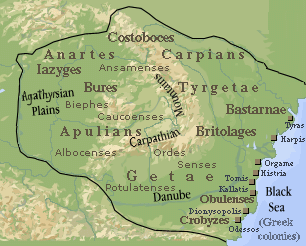 Transylvania within the Dacian Kingdom, during the rule of Burebista, 82 BC, stretching from the Black Sea to the Adriatic and from the Balkan Mountains to Bohemia.<!-- cite web -->
