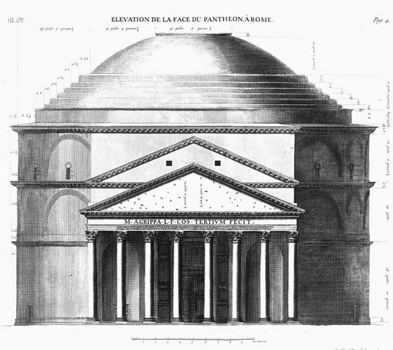 Antoine Desgodetz' elevation of the Pantheon in ''Les edifices antiques de Rome'': engravings served designers who never travelled to Rome.