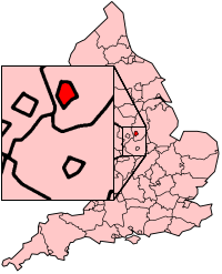 Nottingham shown within England