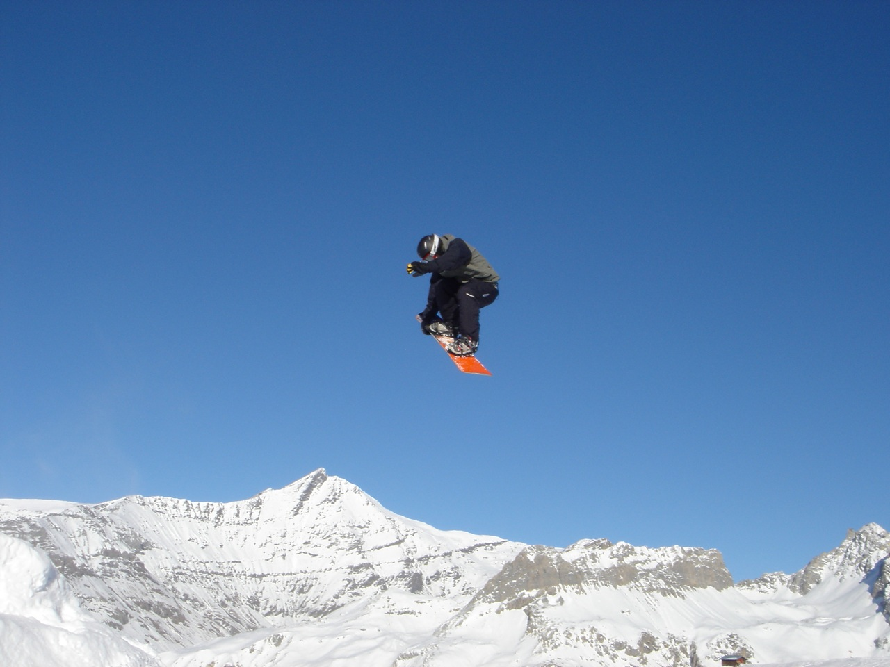 Getting fat air on a snowboard in Val d'Isere.