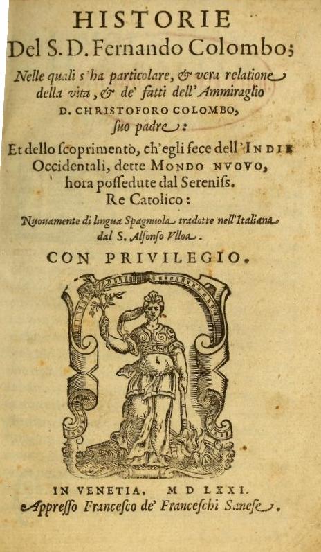 Historia del Almirante, obra de Hernando Colón publicada en 1571 a título póstumo.