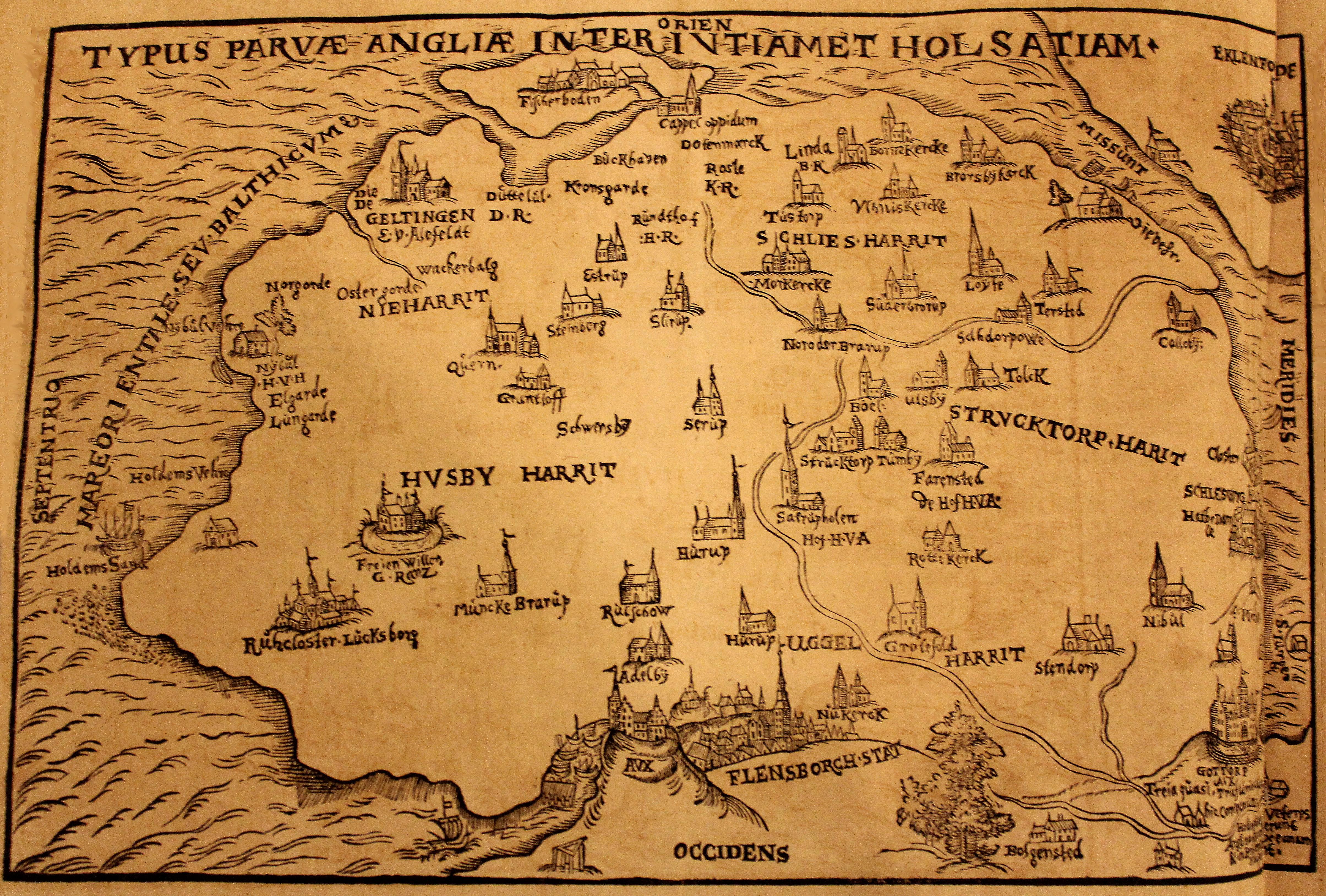 File:Foto von der Karte von Angeln von 1596, mit Flensburg, Kappeln,