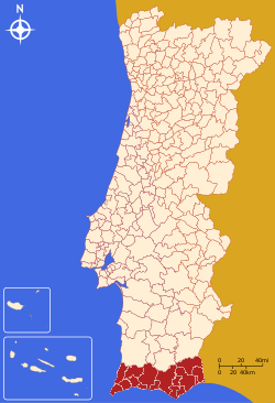 The Algarve region, in red, in Portugal