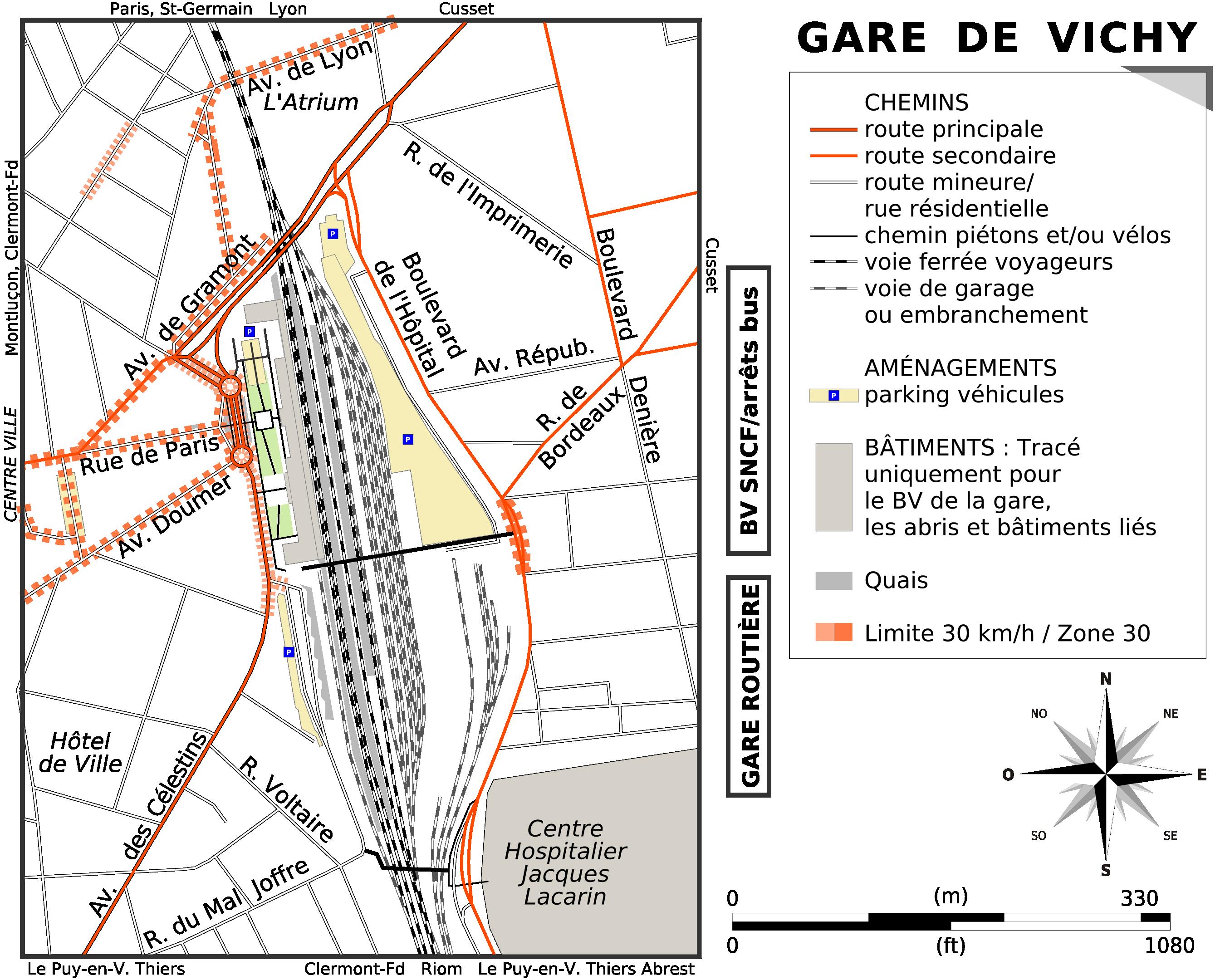 Carte des environs de la gare de Vichy