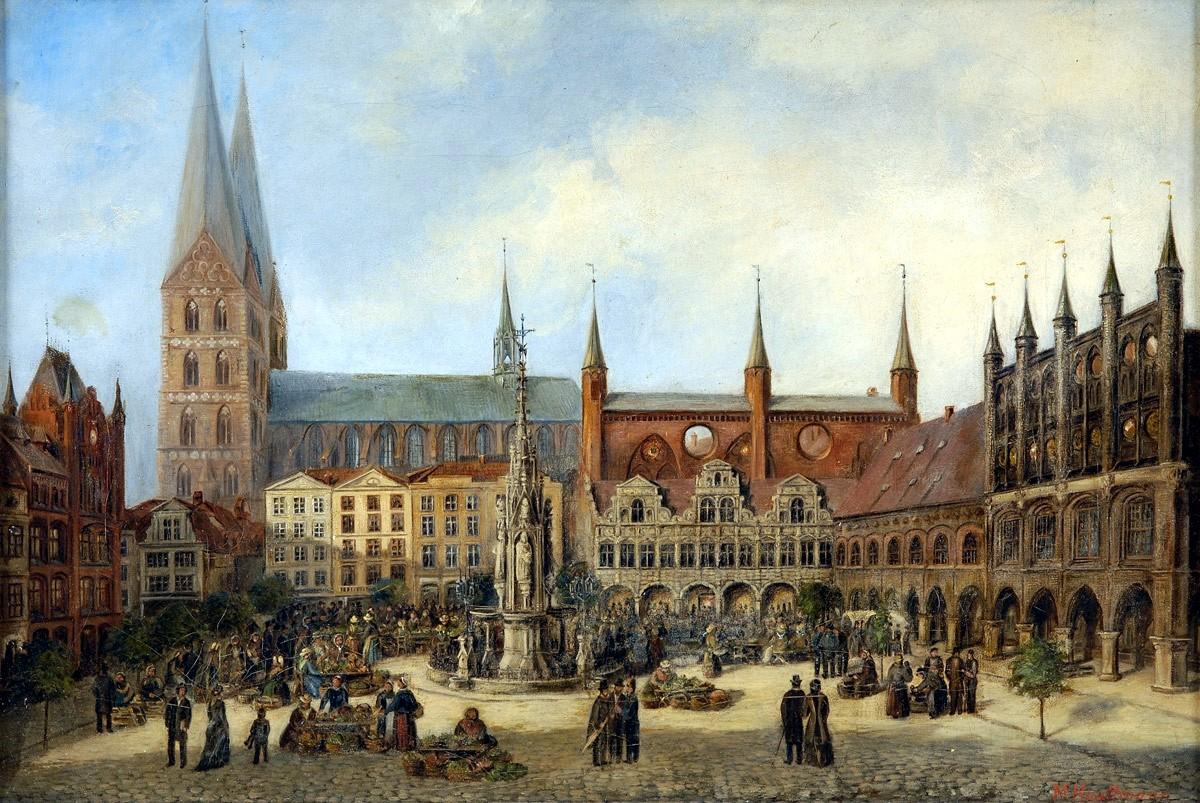 Lubeck Rathaus und Marienkirche, by Hauttmann;