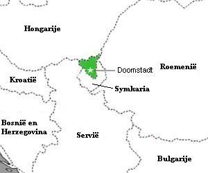 Latveria (in groen) met de hoofdstad Doomstadt. Symkaria grenst aan de zuidkant.