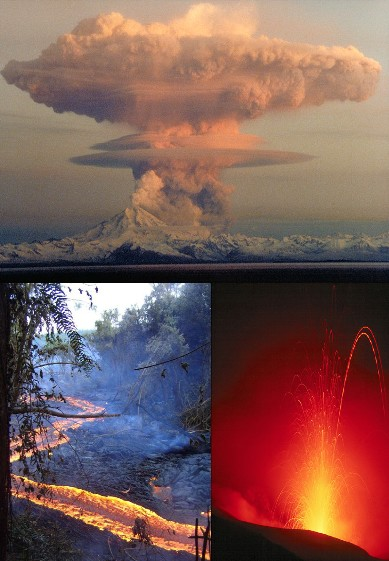 Some of the eruptive structures formed during volcanic activity (counterclockwise): a Plinian eruption column, Hawaiian pahoehoe flows, and a lava arc from a Strombolian eruption