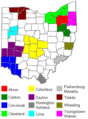 Map showing radio market areas in Ohio. Map of radio markets in Ohio.png