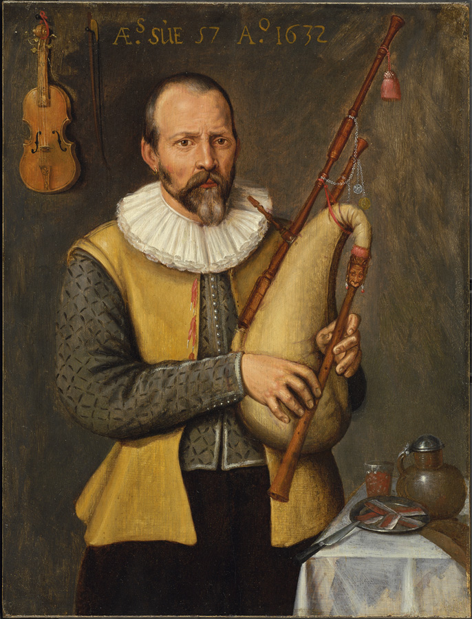 Dutch musician wearing Colet with ribbons as fasteners, 1632.