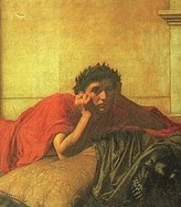 A dark-haired, youthful figure in a red robe, with a melancholy expression, reclines frontwards on a bed or sofa, head resting on hand.