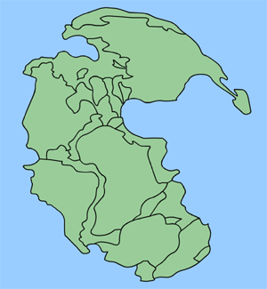 The supercontinent Pangaea surrounded by the s...