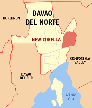 Map of Davao del Norte showing the location of New Corella