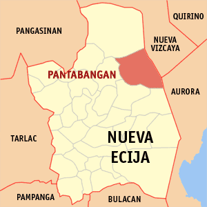Map of Nueva Ecija showing the location of Pantabangan