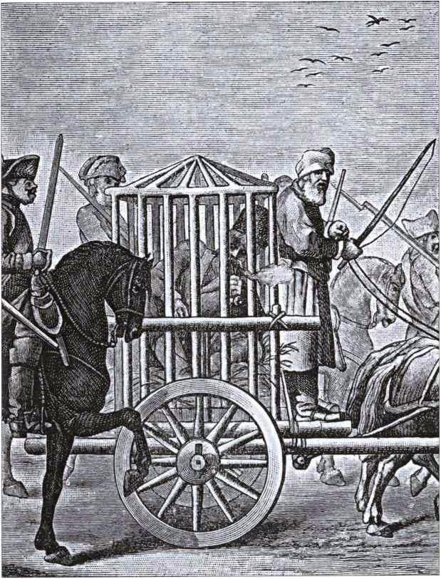 Пугачёв под конвоем. Гравюра XVIII века