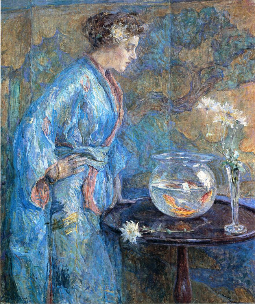 File Reid Robert Lewis Girl in Blue Kimono Wikimedia mons