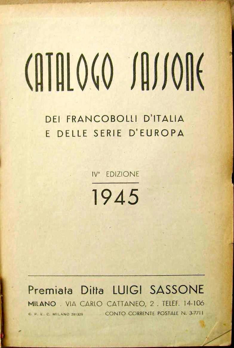 Umschlag der 4. Ausgabe des Sassone Kataloges von 1945