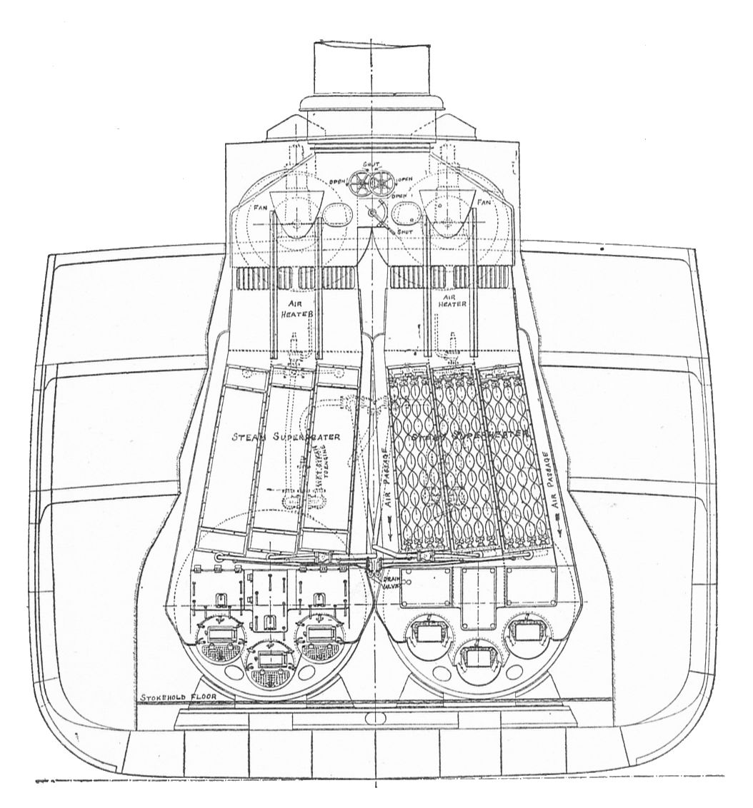 File:Section through ships stokehold with superheated Scotch boilers ...