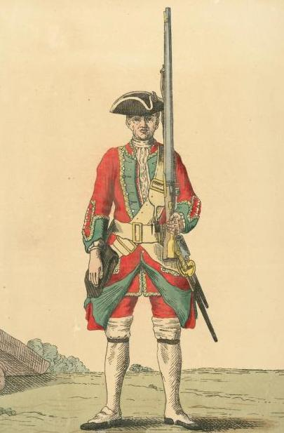 Soldier of the 11th Foot in 1742. The red coat displays the regiment's green facings. Soldier of 11th regiment 1742.jpg