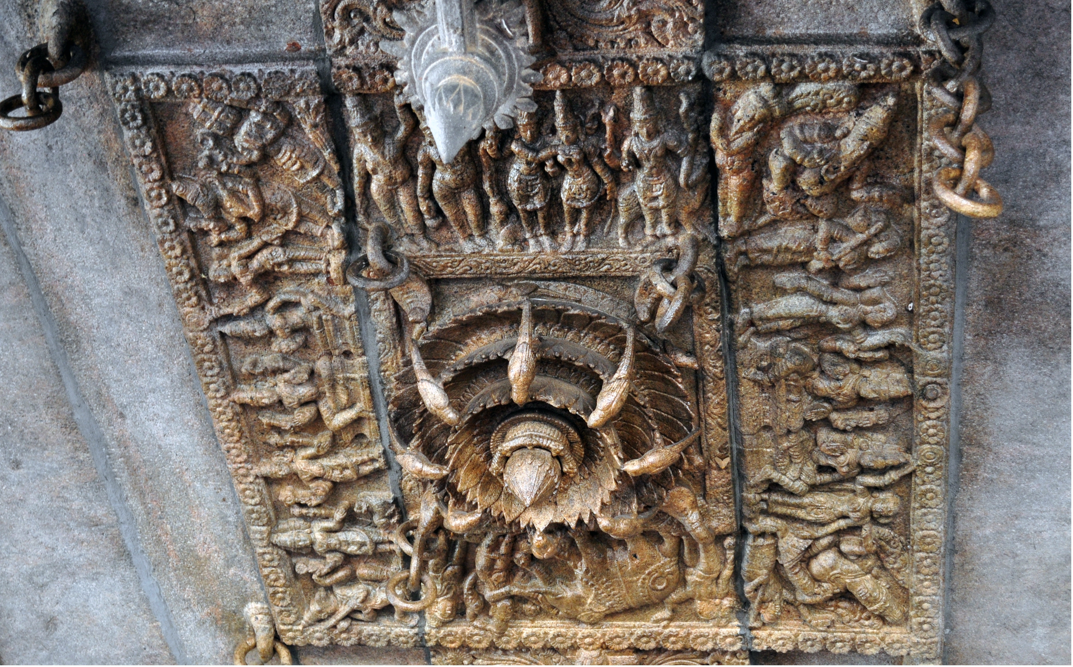 File stone carvings in siva temple s ceiling