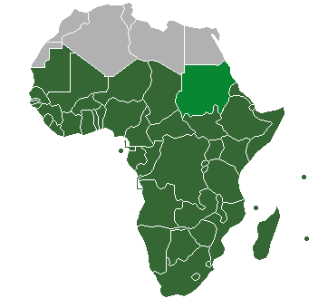 "Dark and lighter green: Definition of ""sub-Saharan Africa"" as used in the statistics of the United Nations institutions. Lighter green: However, Sudan is classified as Northern Africa by the United Nations Statistics Division, though the organisation states ""the assignment of countries or areas to specific groupings is for statistical convenience and does not imply any assumption regarding political or other affiliation of countries or territories"". Sub-Saharan Africa definition UN.png"