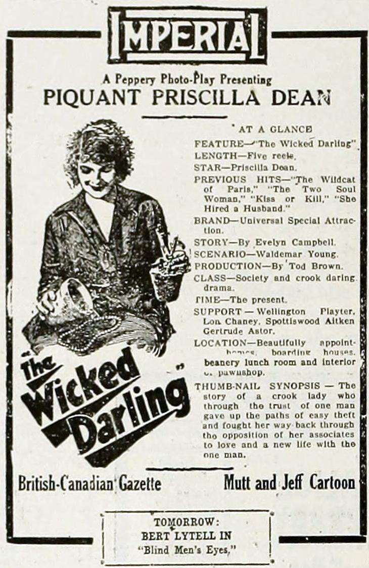 Advertentie voor The Wicked Darling