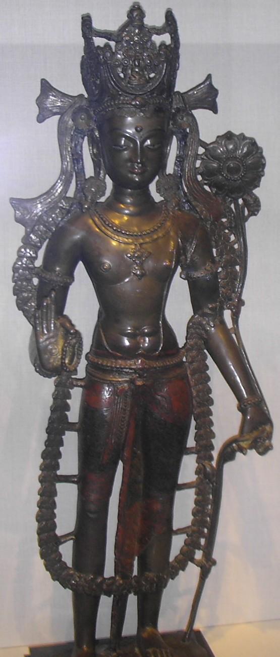 Estatua tibetana de aleación de bronce de bodhisattva, Reino Guge, c. 1050 CE.