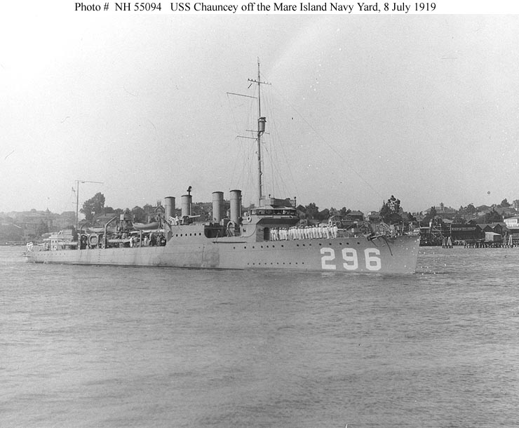 USS Chauncey (Destroyer # 296) Off the Mare Island Navy Yard, 8 July 1919.