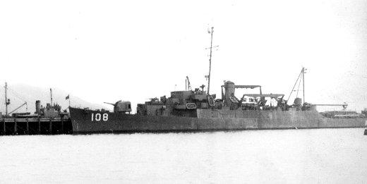 USS Harry L. Corl (APD-108) at Attu, Alaska (USA), circa in late 1945.jpg
