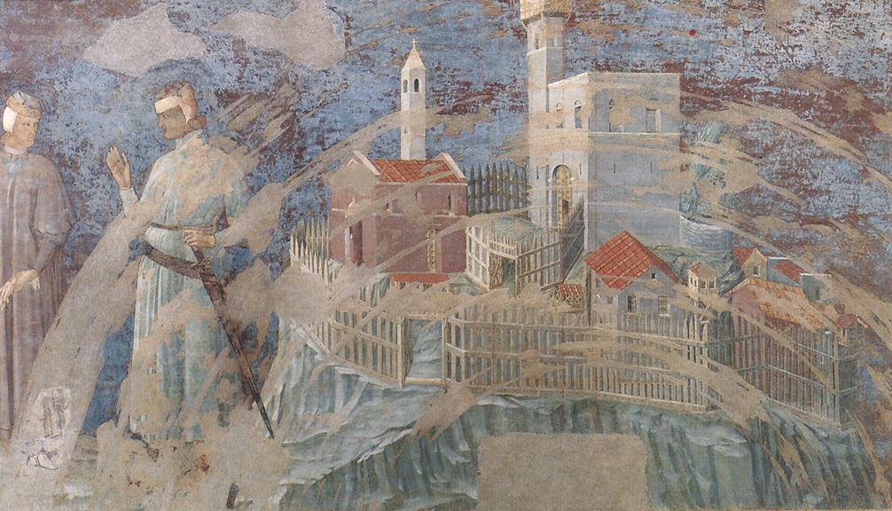 Duccio di Buoninsegna, Consegna del castello di Giuncarico, 1314, affresco, Siena, Sala del Mappamondo del Palazzo pubblico