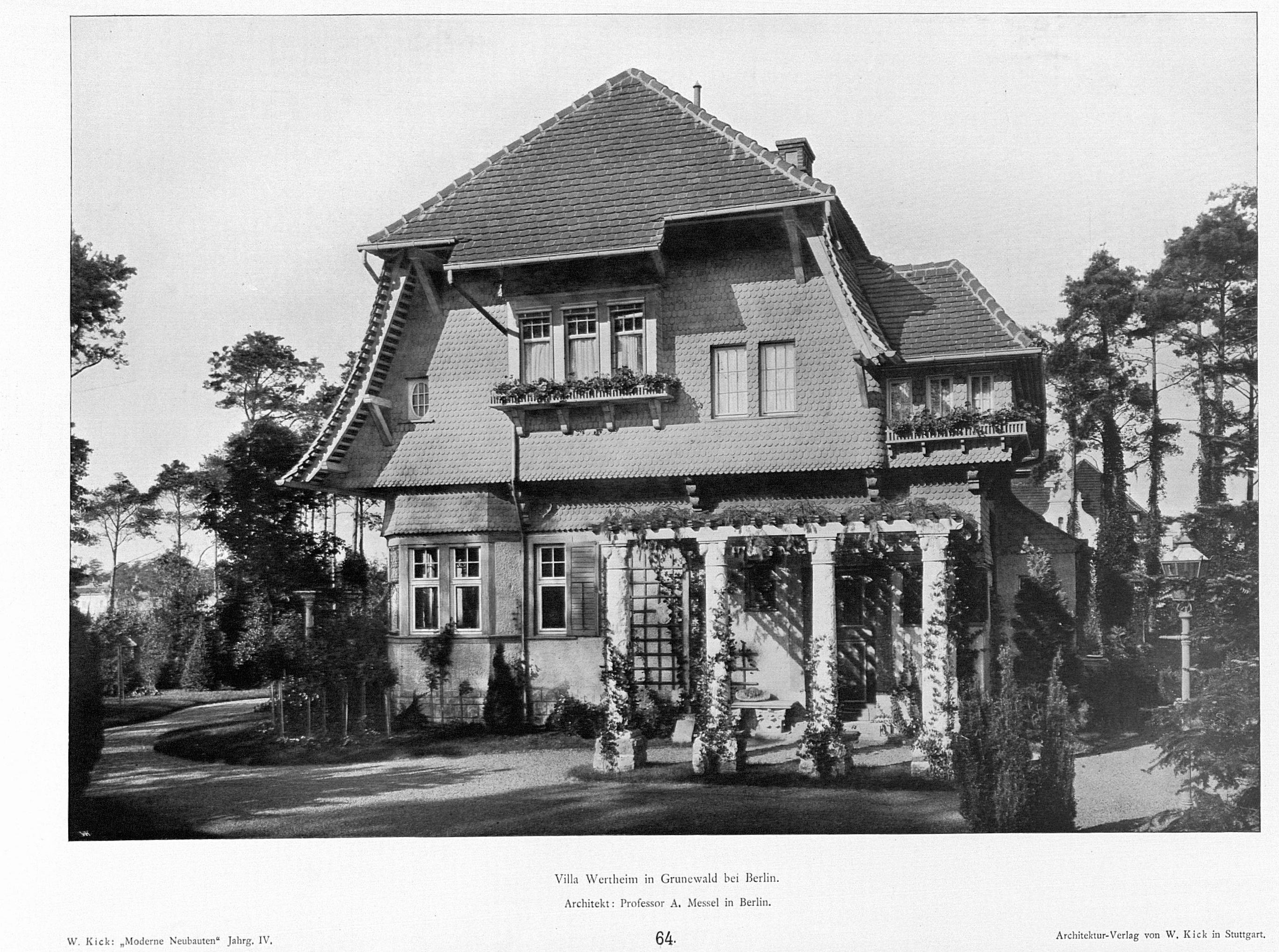 file villa wertheim in grunewald berlin architekt prof a. Black Bedroom Furniture Sets. Home Design Ideas