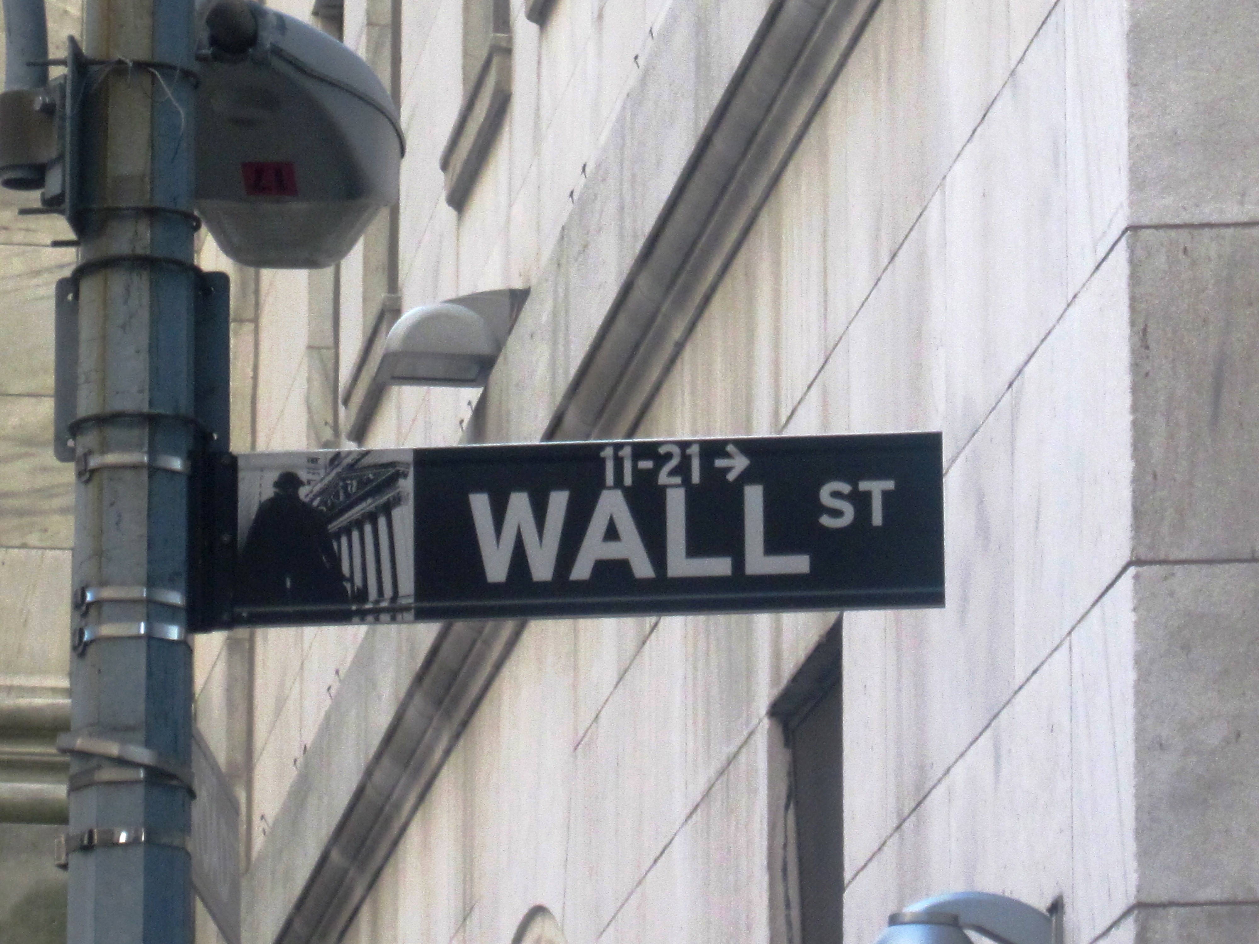 "Image: ""Wall Street sign on Wall Street"" by JSquish, Wikimedia Commons (CC_BY-SA_3.0) http://bit.ly/1kvyKWi"