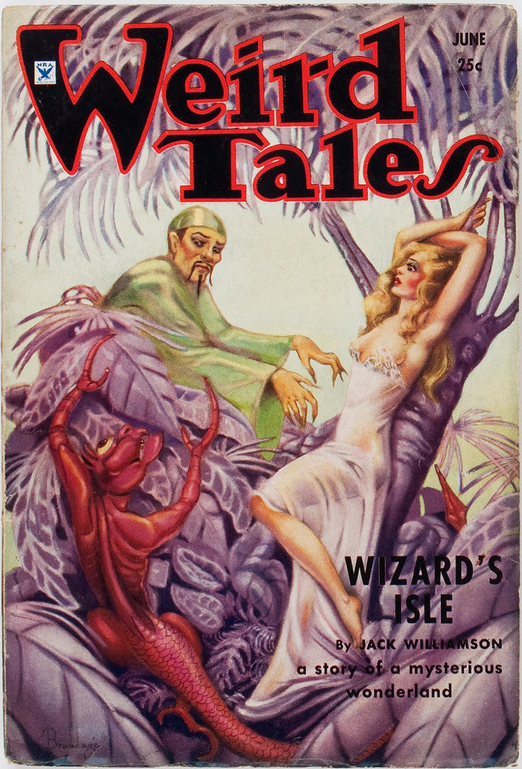 "Williamson's novelette ""Wizard's Isle"" was the cover story in the June 1934 Weird Tales Weird Tales June 1934.jpg"