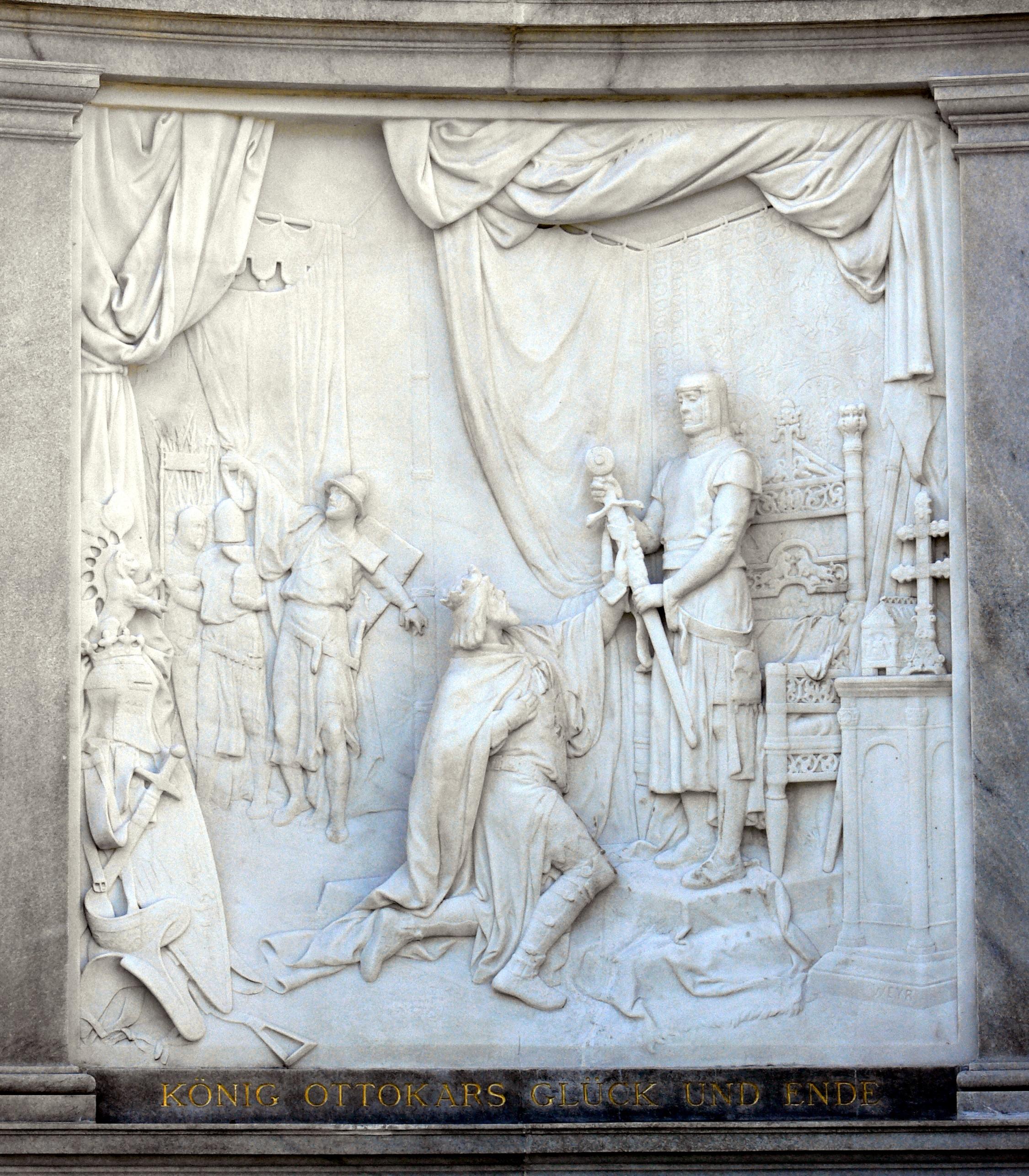 Datei:Wien Grillparzerdenkmal Relief König Ottokars Glück und Ende.jpg