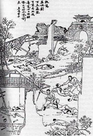 A late-Qing woodblock print representing the Yangzhou massacre of May 1645. By the late 19th century, the massacre was used by anti-Qing revolutionaries to arouse anti-Manchu sentiment among the population. Yangzhou massacre.jpg