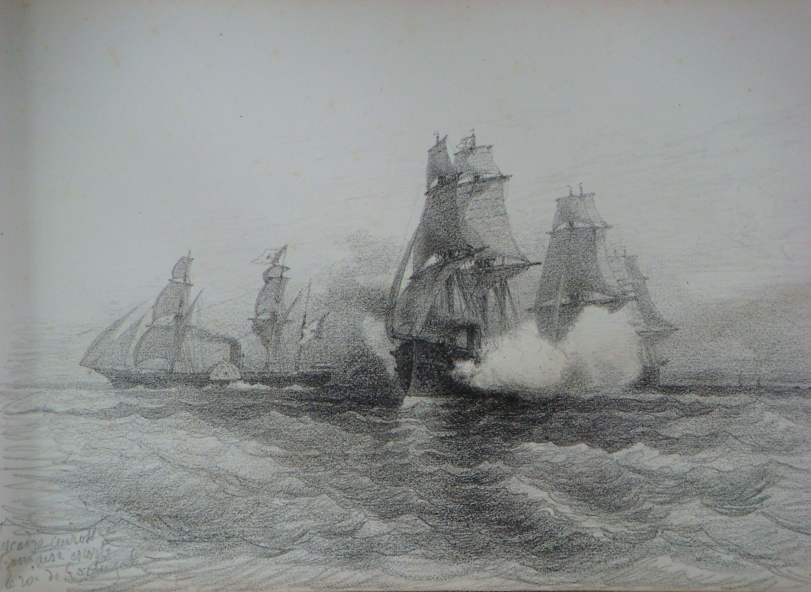 File 17 l escadre cuirass e fran aise escorte le roi du portugal dessin au fusain collection - Dessin du portugal ...